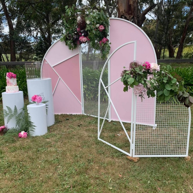 Arched Trio Wall w Pink