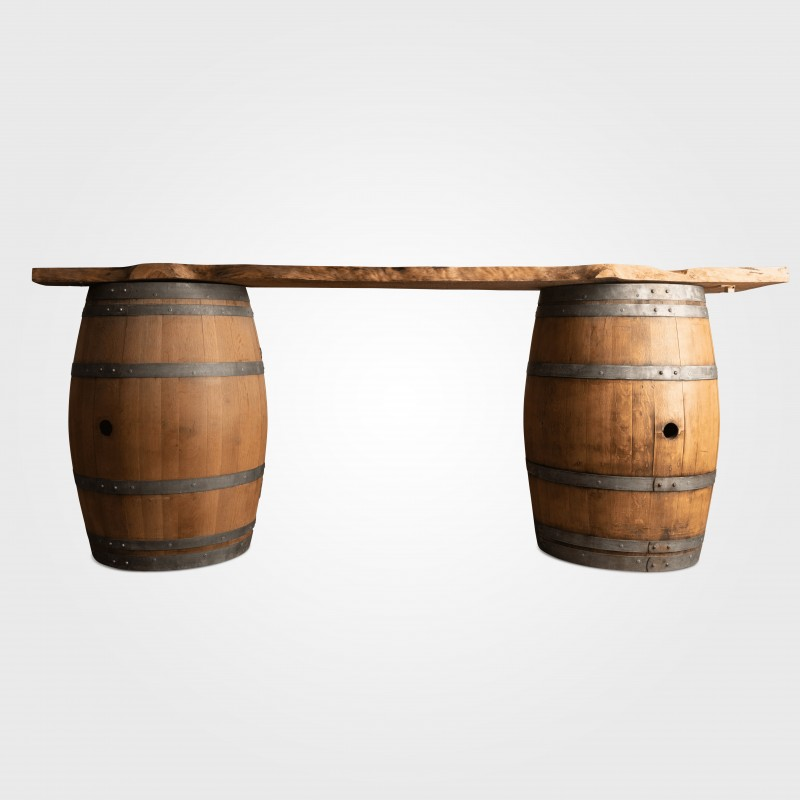 Bar - Wine Barrel Bar Timber Slab - Hero Image