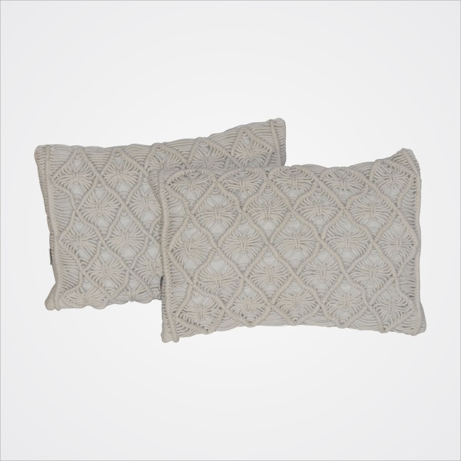 Cushion Cream Macrame (Rectangular)