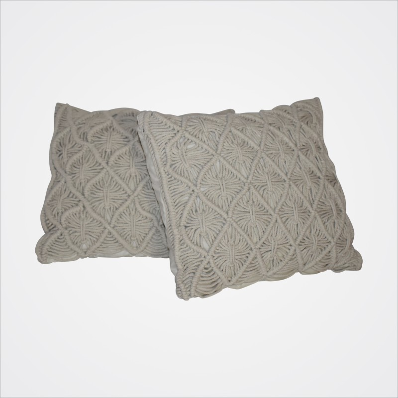 Cushion Cream Macrame (square) - Hero Image