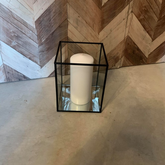 Glass Lantern with black edge Large
