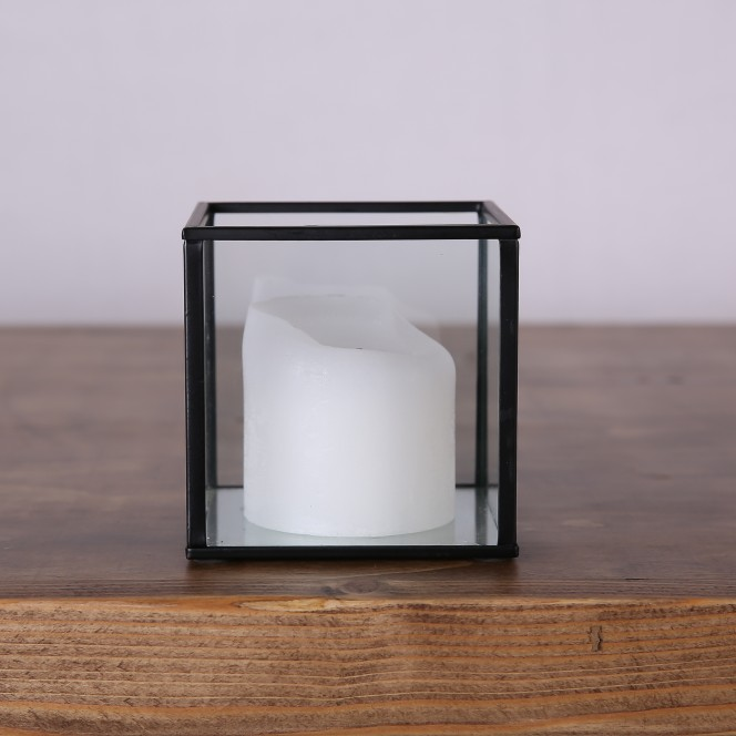 Glass Lantern with Black Edge Small