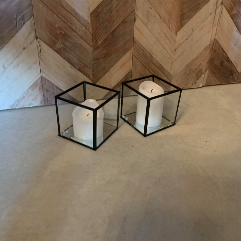 Glass Lantern with Black Edge Small - Hero Image
