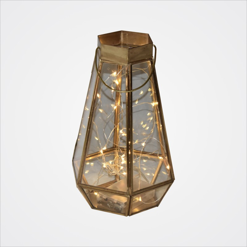 Gold Faceted Lantern with fairy lights