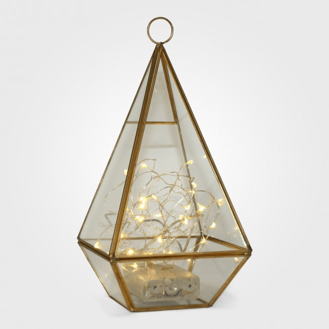 Gold Pyramid Candle Holders with fairy lights