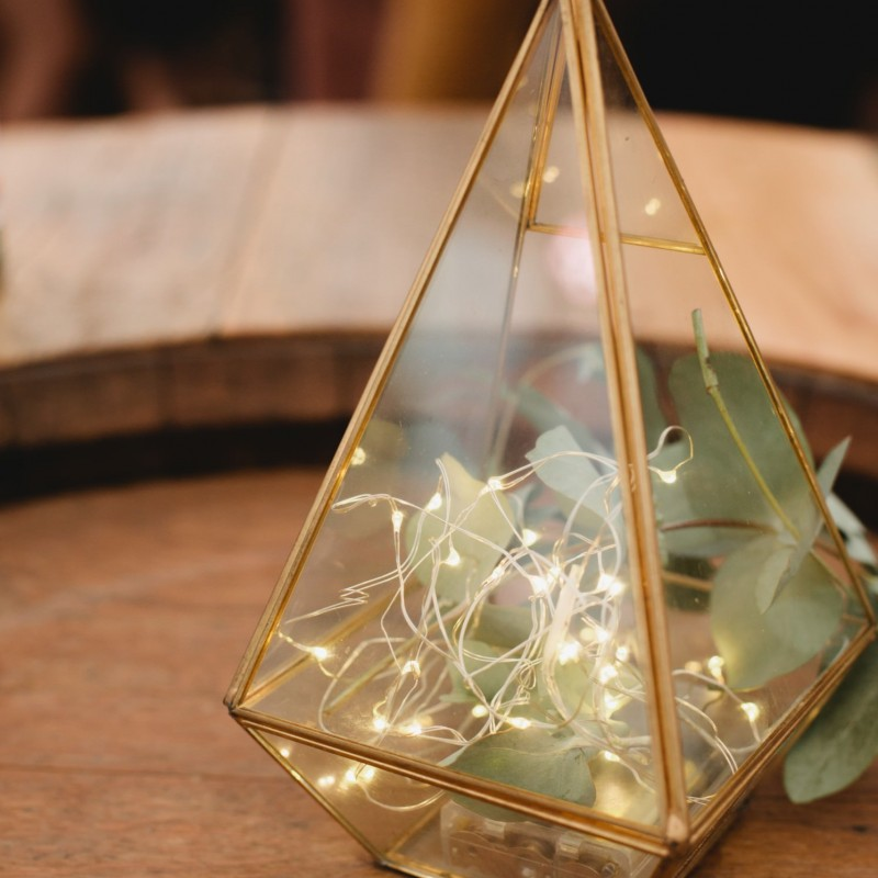 Gold Pyramid Candle Holders with fairy lights - Image #2