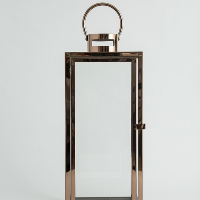 Gold Square Glass Lantern Med