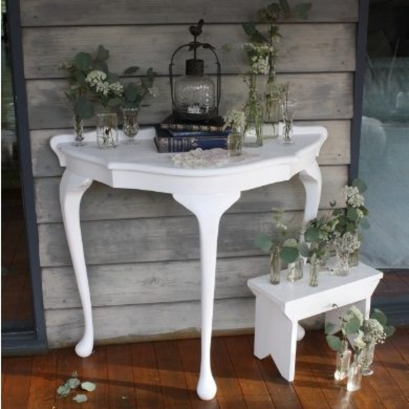 Queen Anne White Vintage Wall Table - Stace - Image #2