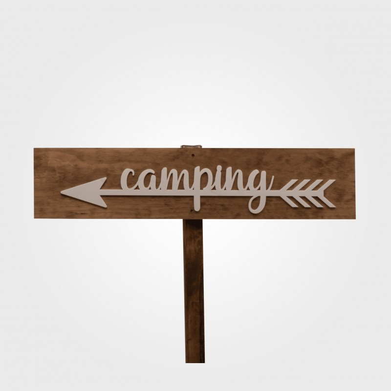 Sign - Camping white arrow (left)
