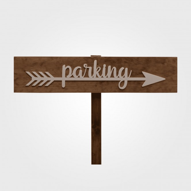 Sign - Parking white arrow (right)