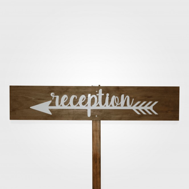 Sign - Reception white arrow (left)
