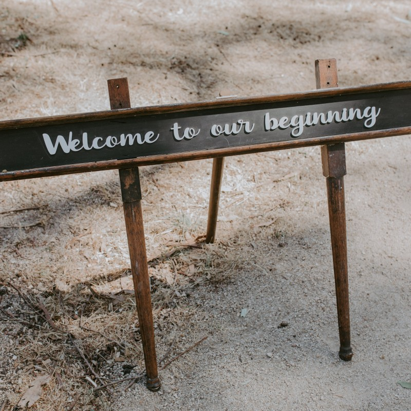 Sign - Welcome to our beginning on stand - Image #4