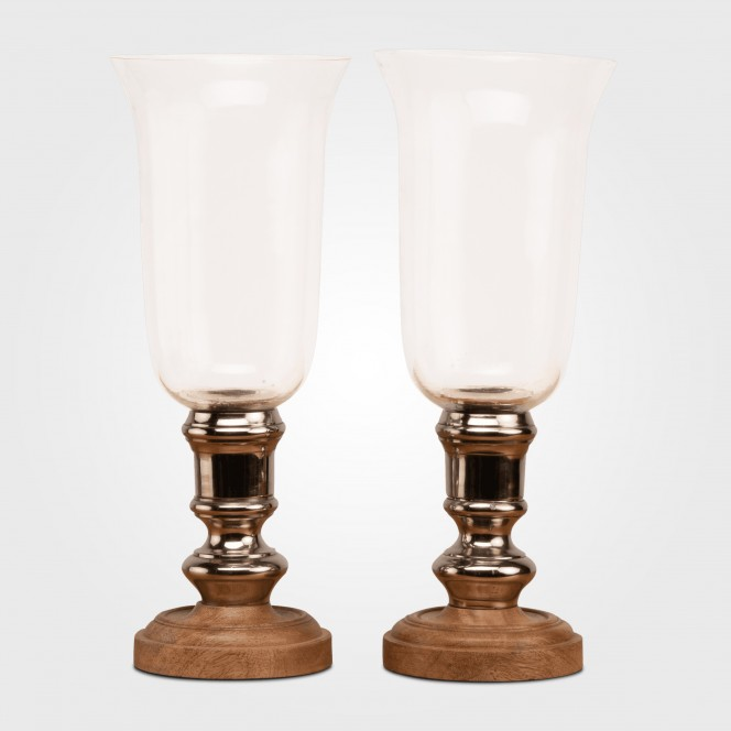 Silver & Timber Hurricane Candle Holders