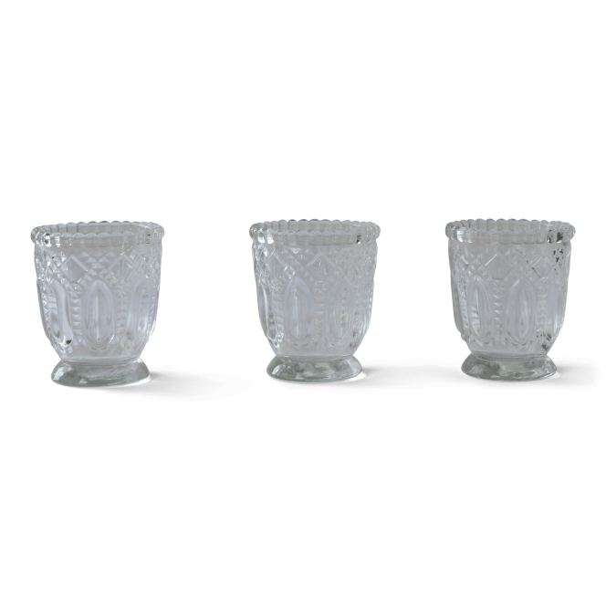 Tealight Candle Holders - Antique Clear Glass