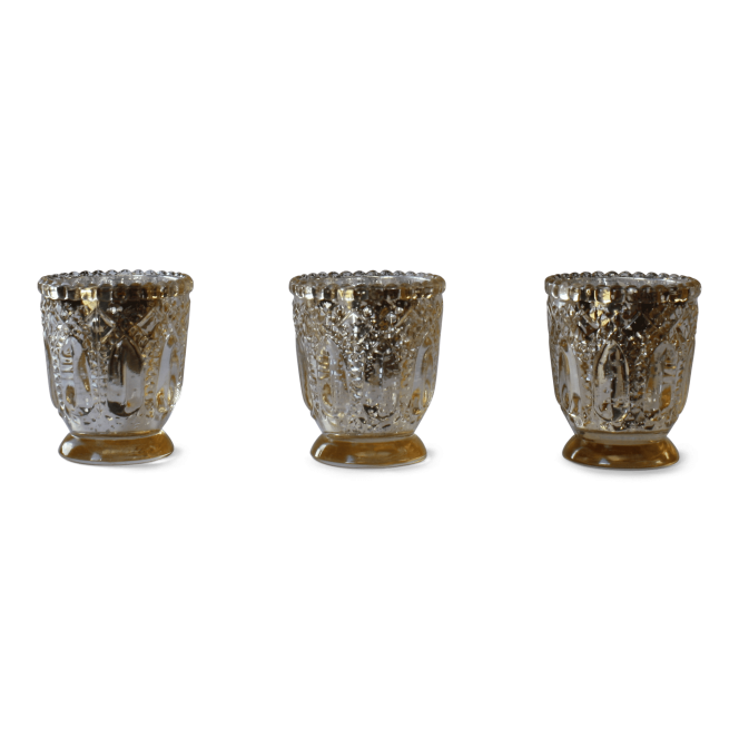 Tealight Candle Holders - Antique Cracked Gold