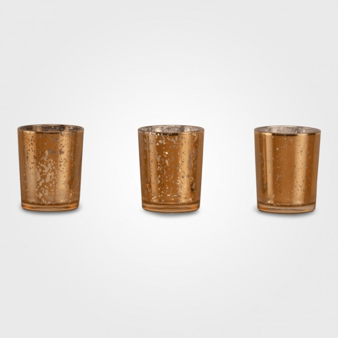 Tealight Candle Holders - Cracked Gold
